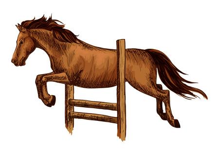 jumping fence: carreras de caballos y saltar por encima de la barrera. símbolo del deporte de carreras de caballos equina. Arabia saltar sobre la cerca marrón mustang