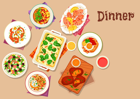 Dinner menu icon of baked pasta with cheese, sausage omelette, cheese and ham salad with olives, salmon egg salad, fried egg on toast, grilled shrimp, poached egg with mushroom, lamb with yogurt sauce