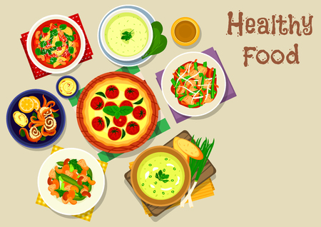 fried food: Tasty food for lunch icon of tomato soup with bean and bacon, chicken vegetable salad with nuts, fish pie with cheese and tomato, spinach cream soups with potato and mint, chicken stew, fried squid
