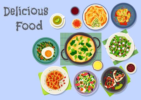 Frühstück Menüsymbol gebratener Reis mit Kimchi, Gemüsekuchen, Omelette mit Käse und Brokkoli, Reis-Salat mit Radieschen und Kohl, Thunfisch onigiri, Lamm Reis-Auflauf, Eiersalat, würzig gebratene Eier