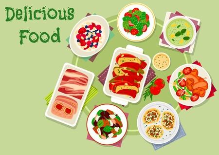 Meat, veggies dinner icon with meat pate, potato pancake with mushroom, vegetable stew, cream dessert with berry, vegetable salads with quail and strawberry, baked veggies with cheese, cucumber soup Illustration