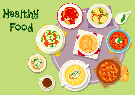 Hearty food for dinner icon of chicken and beef soups with bean, tomato and chilli, cheese cream soup, chicken pie, fried cheese topped with fruit, zucchini mozzarella salad, caramelized fish Illustration