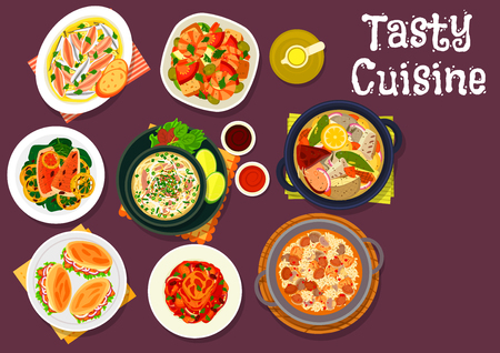 Seafood dishes icon of fish soup, grilled tuna with vegetable stew, rice with clam and pork, fish sandwich, veggies salad with shrimp, beef noodle soup, fried fish with lemon, marinated anchovy