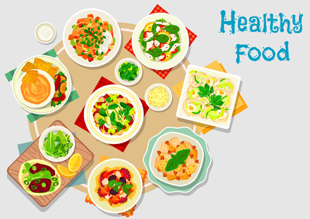 Hearty meal icon of chicken salad, chilli bean stew, vegetable salads with cheese and chickpea, tomato olive salad, baked vegetable dip sauce, beet ball on flatbread, squid vegetable salad