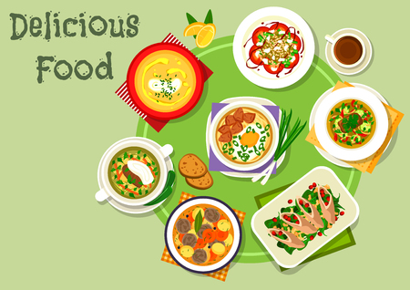 cream cheese: Nutritious dinner icon with beef vegetable soup, spaghetti soup with meat and egg, beef roll with cheese and spinach, meatball soup, lentil tomato salad, meat soup with pickles, eggplant cream soup Illustration