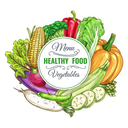 健康な菜食主義野菜料理メニュー ポスター ベクトル収穫のカボチャ、ナス、キャベツ、ピーマン、トウモロコシ、大根、ズッキーニ。菜食レストラ