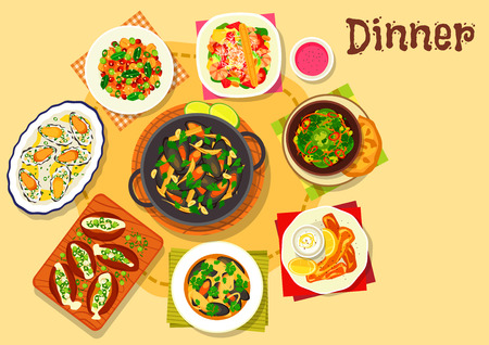 Seafood dishes with salad icon of mussel in wine sauce, shrimp avocado salad, baked potato with cheese, stuffed mussel with rice, seafood soup, green tomato salad, battered fish, carrot chickpea salad Illustration