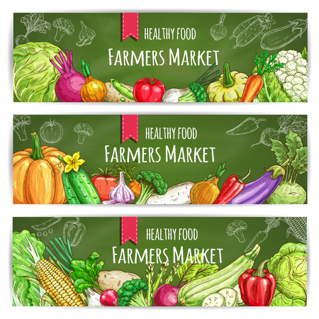 Vegetables healthy food banners. Farmers market sketch vegetables harvest. Vegetarian sketched veggies cabbage, onion, radish and tomato, peas and broccoli, leek and carrot, cauliflower and pumpkin, pepper, cucumber and garlic, eggplant, beet, corn, aspar Illustration