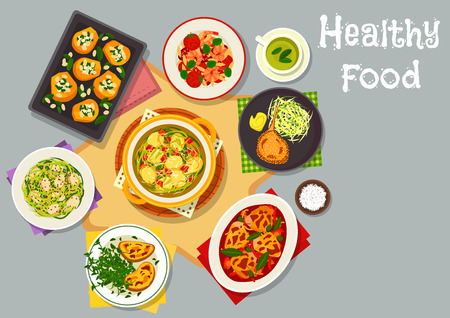 fried shrimp: Healthy food for lunch menu icon with chicken vegetable stew, shrimp sausage pasta with tomato, cheese toast, pork chops, fried chicken with cabbage, baked pumpkin with rice, cabbage bread soup