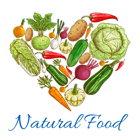 napa: Heart of vegetables. Vector natural vegetarian food. Vegan fresh natural organic farm vegetables cabbage and zucchini, pea, cucumber, onion and chinese cabbage napa, carrot and eggplant, tomato and garlic, beet, pepper, kohlrabi, potato, beet Illustration