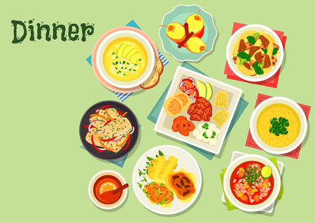 fried shrimp: Dinner with exotic fruit dessert icon of vegetable meat stew, chicken rice, shrimp tomato soup ceviche, pepper sauce, fried pork with corn, fish in coconut sauce, potato cream soup, tamarillo dessert