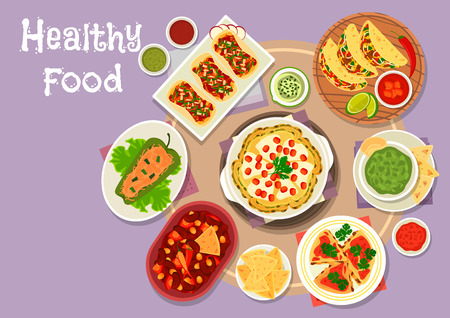 Mexican cuisine snacks icon of meat tomato and bean vegetable tacos, bean tomato stew with chilli, stuffed pepper with meat, avocado sauce guacamole, grilled chicken tortilla, spicy cheese pancake Illustration