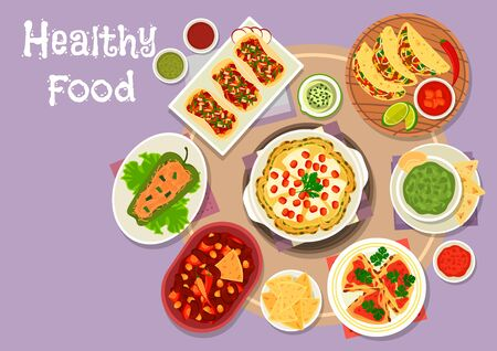 chilli pepper: Mexican cuisine snacks icon of meat tomato and bean vegetable tacos, bean tomato stew with chilli, stuffed pepper with meat, avocado sauce guacamole, grilled chicken tortilla, spicy cheese pancake Stock Photo