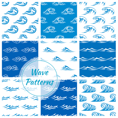 Waves patterns. Seamless vector backdrops set of ocean or sea blue waves, water splashes and stormy curling sea waves, wavy flows with surfing gales and tide water rollers with foamy stormy curls