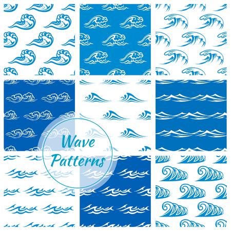 Waves modelli. fondali vettore senza soluzione di continuità di mare o sul mare blu onde, spruzzi d'acqua e tempesta le onde del mare il curling, ondulato scorre con venti surf e rulli dell'acqua marea con i riccioli di schiuma in tempesta
