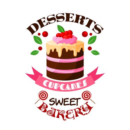 파이 디저트 또는 제과점 벡터 벡터 상징. 달콤한 컵 케 잌은 케이크 또는 타트 아이콘 제과 또는 제과점 제과 용 배지입니다. 베리 토핑, 막대 사탕, 핑 일러스트