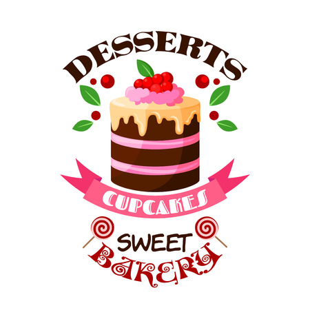 Pastry desserts or bakery shop vector emblem. Sweet cupcake, cake or tart icon for pastry or patisserie confectionery badge. Chocolate creamy pie with berry topping, lollipops and pink ribbon