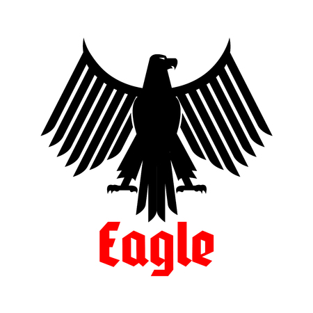 clutches: Black eagle heraldic or crest emblem. Gothic or imperial falcon or hawk symbol. Vector isolated icon of sign of phoenix with open spread wings and sharp clutches. Predatory bird heraldry symbol for army or military shield, security badge