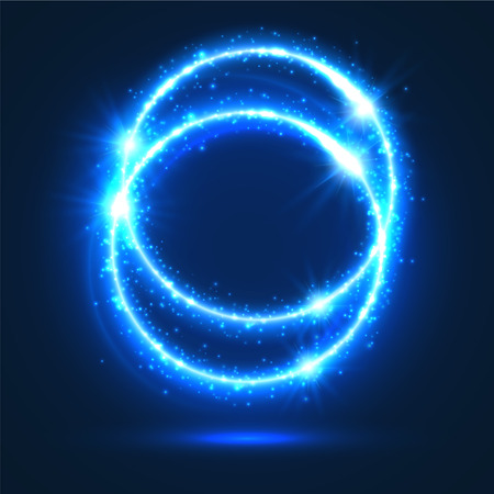 outburst: Light flashes and lights sparkles. Shiny abstract circles with neon luminous particles effect. Shining blue rings of glittering sparks. Magic glowing circular star rays and beams of glitter
