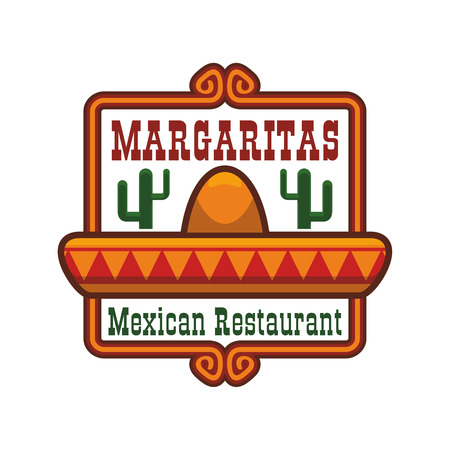 Mexican cuisine emblem. Vector isolated icon or badge of traditional mexican sombrero hat, agave or cactus peyote. Sign for Mexico fast food of tacos and burritos snacks, tequila drink bar or authentic restaurant menu Illustration