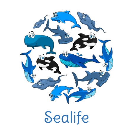 Cartoon fishes or sea animals. Ocean or sealife blue dolphin, sperm whale of cachalot, stingray and white shark, hammerhead fish, killer whale or orca. Vector poster in circle shape with underwater fish Illustration