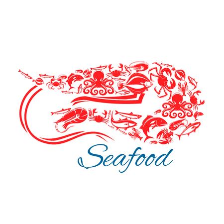 Garnalen zeevruchten poster. Vector symbool van de zee en de oceaan vissen voedsel krab kreeft, bot, tonijn en haring, zalm of forel, inktvis en octopus. Ontwerp voor visgerechten restaurant, vismarkt of winkel Stock Illustratie