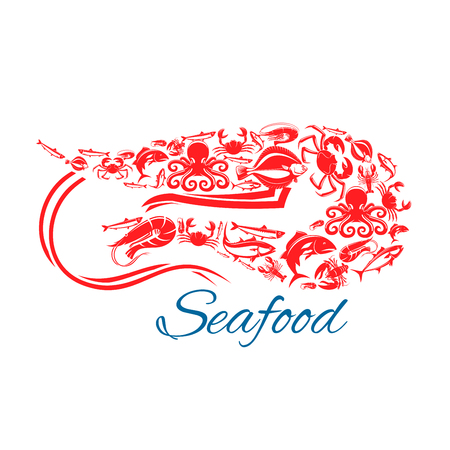 Shrimp seafood poster. Vector symbol of sea and ocean fish food crab lobster, flounder, tuna and herring, salmon or trout, squid and octopus. Design for seafood cuisine restaurant, fish market or shop