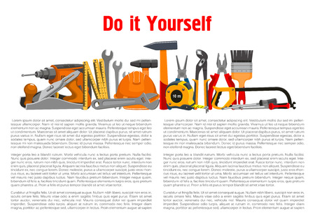 toolkit: Repair, building and home fix work tools and working instruments toolkit of vector hammer and saw or fretsaw, plane and drill, spanner wrench and safety hat, measure tape ruler, pliers or nippers and paint brush with screwdriver