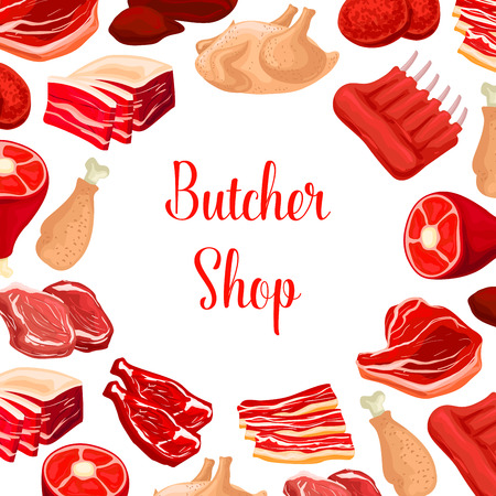wildfowl: Butchery fresh meat products. Butcher shop poster of fresh beef raw filet and steak, pork bacon and tenderloin or chop, mutton ribs, poultry turkey and chicken leg, beefsteak, t-bone sirloin and meaty cutlet