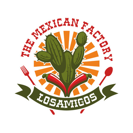 agave: Mexican cuisine restaurant emblem. Vector isolated icon for traditional mexican bar with badge of spicy red chili pepper jalapeno, agave or cactus peyote and sun with ribbon. Sign for Mexico fast food tacos or burritos snacks, tequila drink bar Illustration