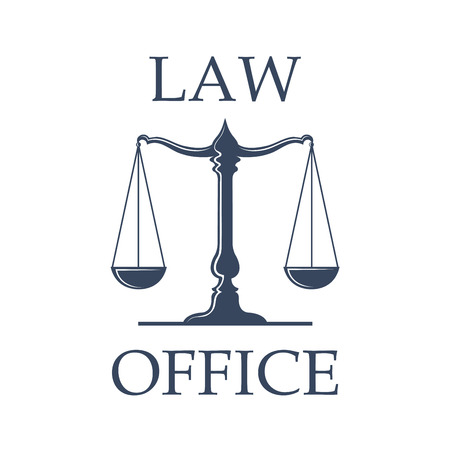 advocacy: Law or advocate office emblem. Vector icon with Scales of Justice symbol for juridical emblem of advocacy or notary company, law attorney and legal advocate, judge court or lawyer badge