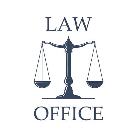 Legge o promuove l'emblema dell'ufficio. Icona vettoriale con scala di giustizia simbolo per emblema giuridico di avvocatura o notaio, avvocato e avvocato legale, tribunale giudice o avvocato badge Archivio Fotografico - 70127945