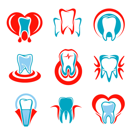 stomatologist: Dentistry emblems set of tooth icons. Vector isolated teeth symbols for dentist or stomatologist clinic, dental office. Signs of healthy tooth and gum with heart for stomatology and odontology, tooth paste design Illustration