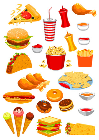 ketchup bottle: Fast Food vector isolated icons of hamburger or cheeseburger sandwich, hot dog and ice cream, pizza and popcorn. Junk food chicken leg and french fries, tacos, burrito or kebab, nachos chips and ketchup, burger, soda drink bottle and donut