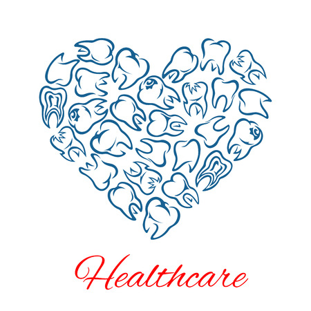 stomatologist: Heart of teeth. Dentistry and dental care poster of vector tooth for stomatology and odontology healthcare. Symbol of healthy white teeth for dentist, stomatologist clinic, health center or tooth paste design Illustration