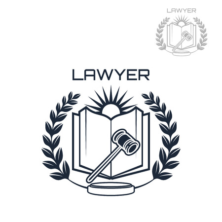 prosecutor: Lawyer or advocate emblem of judge gavel, open book, heraldic laurel wreath and sun. Vector isolated icon for law attorney or advocacy assistant office or juridical counsel or legal notary company