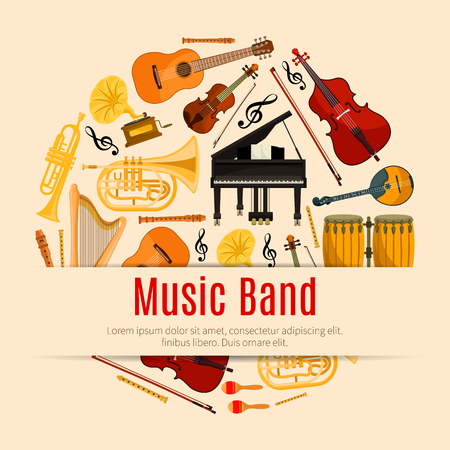 band instruments: Music Band poster of vector musical instruments and notes. Orchestra harp, contrabass, violin with bow and piano, sax or saxophone and maracas, cymbals on ethnic jembe drums station, jazz trumpet, acoustic guitar, flute pipe and gramophone Illustration