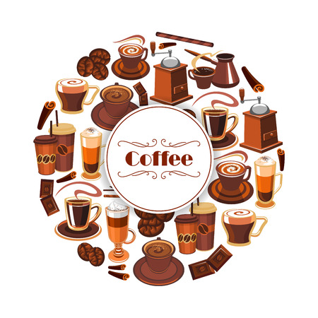 Coffee poster of hot espresso cup, creamy latte, roasted coffee beans and cinnamon stick. Vector milkshake, chocolate and biscuit dessert, coffee mill or grinder and coffee maker for cappuccino or moka. Cafe, cafeteria design
