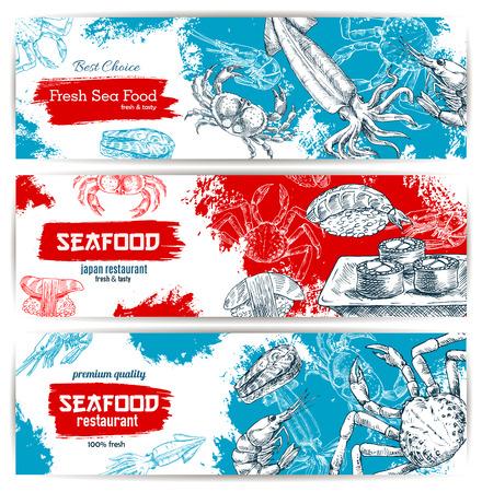 Seafood schets spandoeken met visvoer sushi en sashimi, verse kreeft en krab, zalm gegrilde biefstuk, garnalen en inktvis met rode kaviaar. Vector ontwerp voor visrestaurant, japans oosters sushi bar of visserijbedrijven markt, winkel of winkel