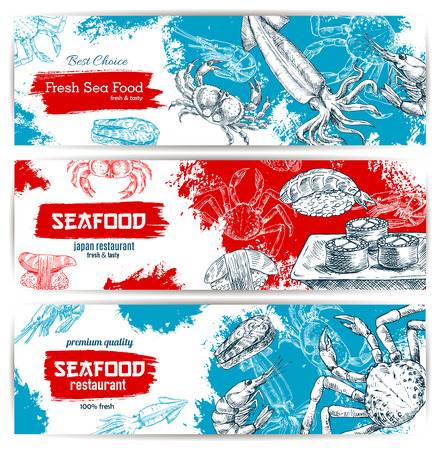 Seafood sketch banners set with fish food sushi rolls and sashimi, fresh lobster and crab, salmon grilled steak, shrimp and squid with red caviar. Vector design for seafood restaurant, japanese oriental sushi bar or fishery market, store or shop Illustration