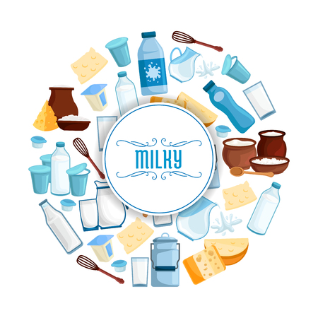cream cheese: Milky products poster of vector milk and dairy products. Butter, sour cream in jar and milk curd, village and farmer market cheese, yogurt or kefir, cottage cheese and fresh cream, whisk and spoon. Design for milk shop, store or market