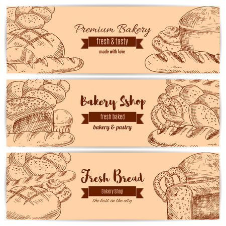 wheat bread: Bread and bakery banners. Set of sketch wheat bread bagel, rye loaf brick, white wheat toast bread, fresh baked pretzel and crunch pie, sweet sesame roll bun and croissant, braided bread and cupcake. Vector design for premium pastry or baker shop