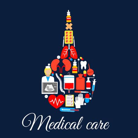 simbolo medicina: Enema médico símbolo pera de goma de artículos sanitarios de medicina e instrumentos de órganos humanos y los huesos de la columna vertebral y de los dientes, corazón, pulmones y riñones, píldoras, ultrasonografía, cuentagotas sangre y termómetro, enfermera o médico. vector del cartel Vectores