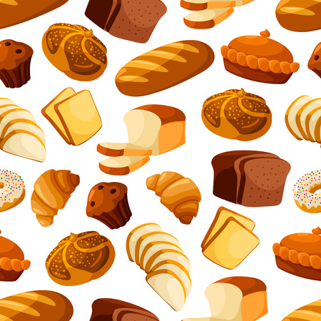 Bread and bakery vector seamless pattern of wheat bread loaf, rye brick or bagel, sliced wheat bread toasts, crunch pie or cake, sweet croissant and chocolate muffin, glazed donut or cupcake dessert. Design for baker shop, patisserie