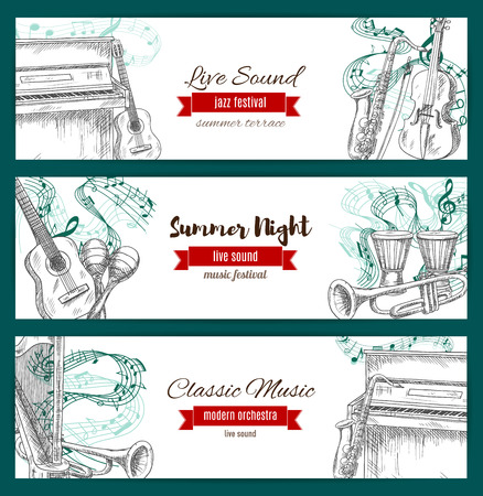 fiddlestick: Banners for musical jazz festival. Vector sketch of music instruments set sax or saxophone, acoustic guitar and piano with violin bow, clef note stave, maracas and ethnic drums with cymbals, harp and trumpet for live sound concert
