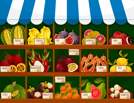 Fruit shop stand with exotic fruits. Durian, carambola and starfruit, figs, grapefruit and lichee, tropical tamarillo, dragonfruit and passionfruit. Vector market store stand with papaya, yuzu and feijoa, mangosteen, tangerine, guava and rambutan
