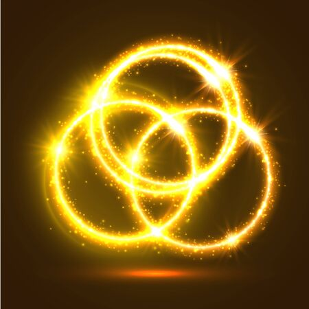 glowing star: Abstract light rings and sparkling shining circles. Golden magic lights and flashes. Shiny luminous and shimmering glitter particles of circular star rays and beams. Luminous glowing glittering effect