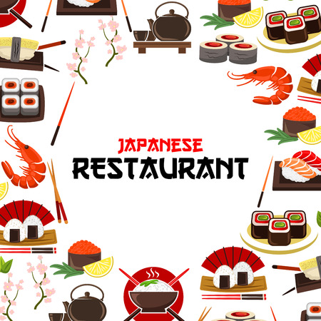 soy sauce: Sushi, sashimi seafood vector poster for Japanese restaurant. Oriental cuisine food sushi rolls, sashimi, steamed rice with salmon caviar or tuna fish and shrimps, noodle seaweed soup, wasabi, soy sauce, chopsticks and cherry blossom sakura branch
