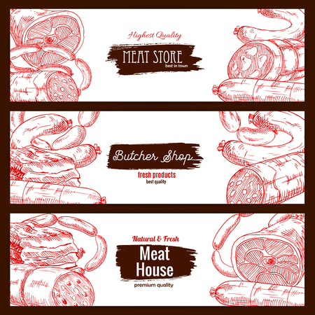 Meat store or butcher shop products. Butchery house banners set of sketch salami, pepperoni and kielbasa wurst sausages, pork bacon and ham jamon, beef or veal meat loaf piece of fresh or smoked meaty lard delicatessen