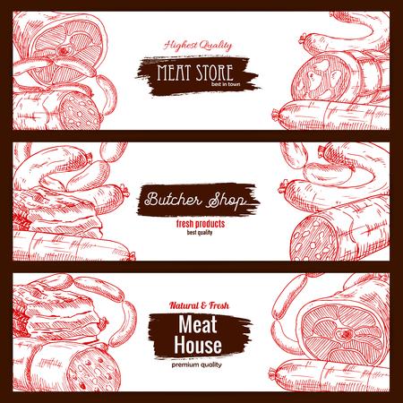 Vlees winkel of slagerij producten. Slagerij huis banners set van schets salami, pepperoni en kielbasa worst worstjes, varkensvlees bacon en ham jamon, rund- of kalfsvlees gehaktbrood stuk verse of gerookte vlezige reuzel delicatessen